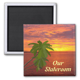 Tropical Sunset Sq Door Marker Magnet