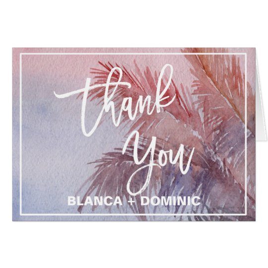 Tropical Sunset Thank You Card