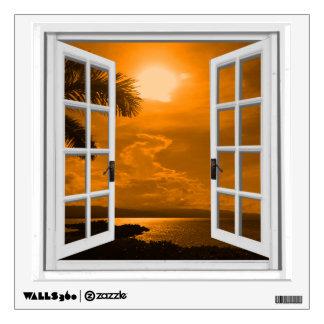 Tropical Sunset View Artificial Window Wall Sticker