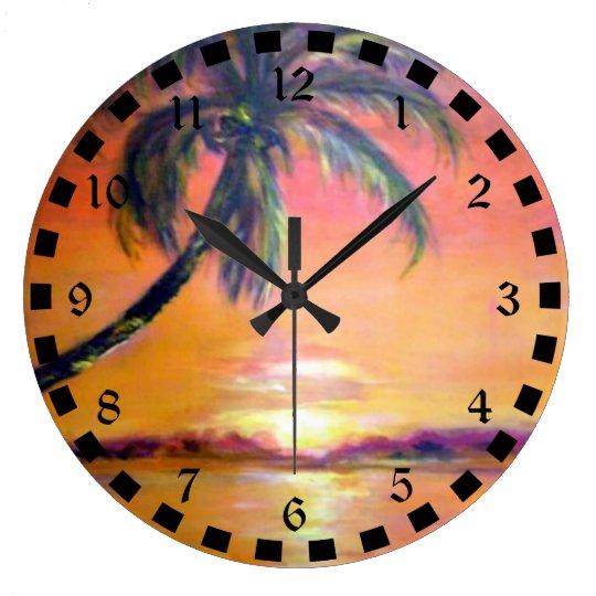 Tropical Sunset Wall Clocks