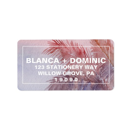 Tropical Sunset Wedding Label
