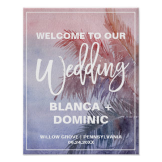 Tropical Sunset Wedding Welcome Poster