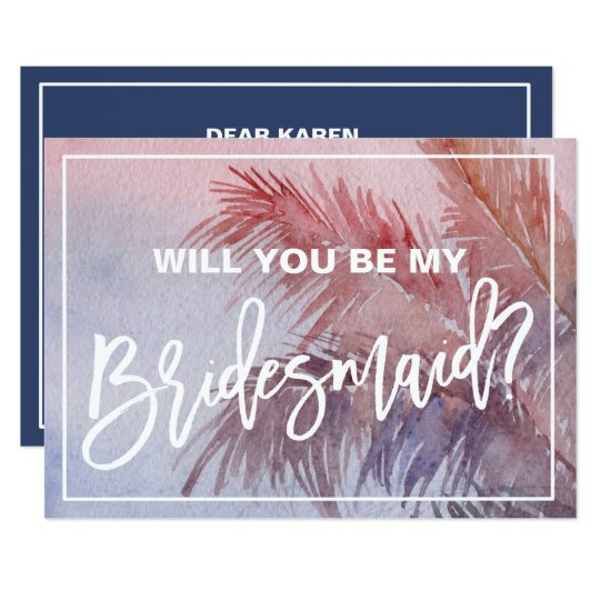 Tropical Sunset Will You Be My Bridesmaid Card