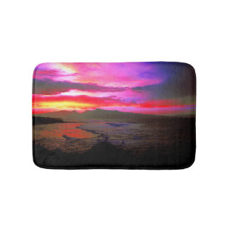 Tropical Sunset Windy Island Sea Bath Mat