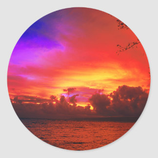 Tropical Sunset Windy Island Sea Classic Round Sticker