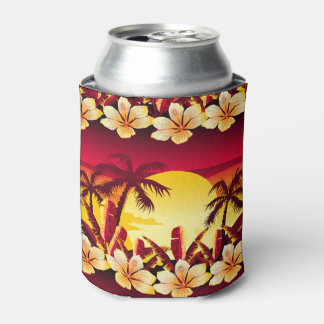 Tropical sunset with palms can cooler