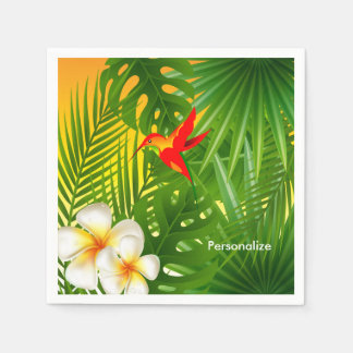 Tropical Sunshine with a Hummingbird Paper Napkin
