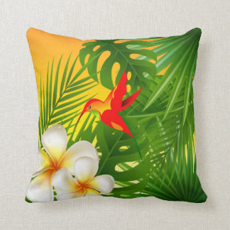 Tropical Sunshine with a Hummingbird Throw Pillow