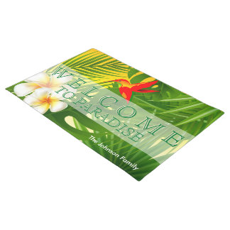 Tropical Sunshine with a Little  Hummingbird Doormat