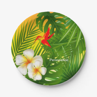Tropical Sunshine with a Little  Hummingbird Paper Plate