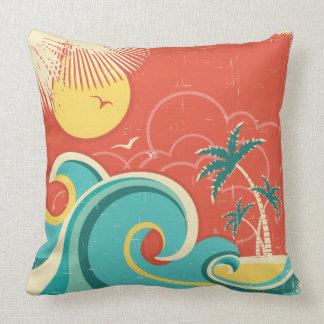 Tropical Surf Wave Pillow