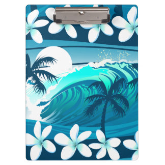 Tropical surf wave with palm trees clipboard