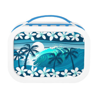 Tropical surf wave with palm trees lunch box