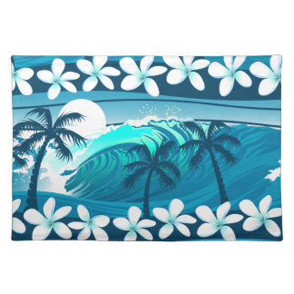 Tropical surf wave with palm trees placemat
