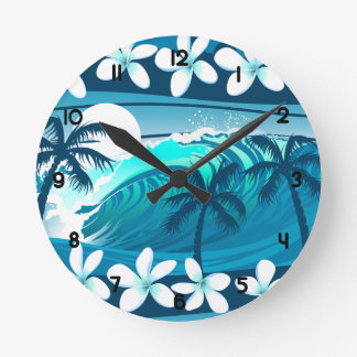 Tropical surf wave with palm trees round clock