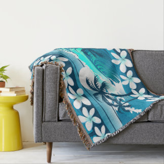 Tropical surf wave with palm trees throw blanket