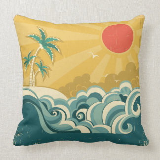 Tropical Surf Waves Pillow