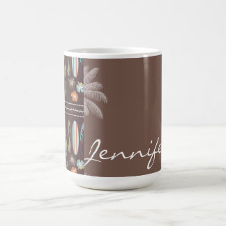Tropical Surfboards & Hibiscus Classic White Coffee Mug