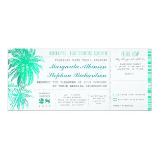 "Tropical teal beach wedding tickets -boarding pass 4"" x 9.25"" invitation card"