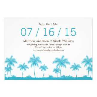 Tropical Teal Blue Palm Trees Save The Date Personalized Invitations