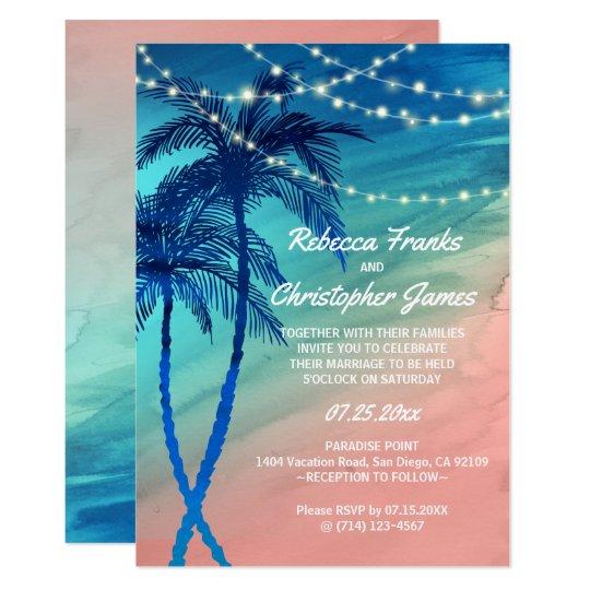 Tropical Teal Blue & Peach Wedding Invitations