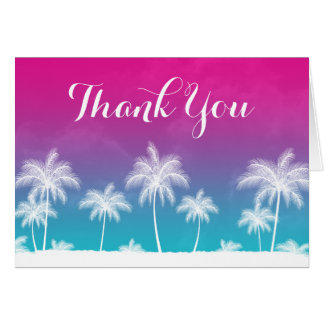 Tropical Teal Blue Pink Thank You Card