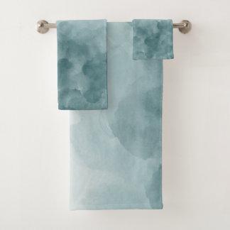 Tropical Teal Blue Watercolor Bath Towel Set