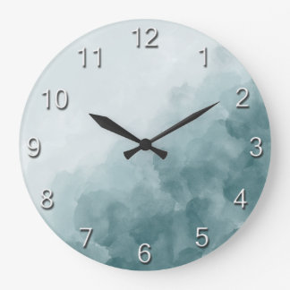Tropical Teal Blue Watercolor Large Clock