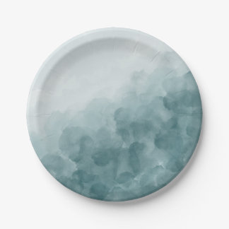 Tropical Teal Blue Watercolor Paper Plate
