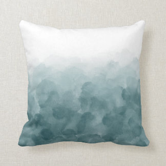 Tropical Teal Blue Watercolor Throw Pillow