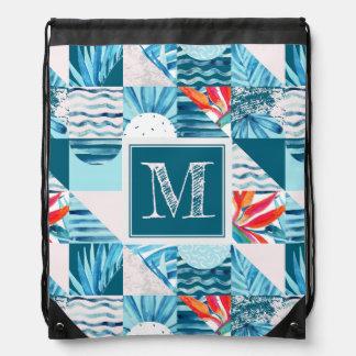 Tropical Teal Geometric Abstract Pattern Drawstring Bag