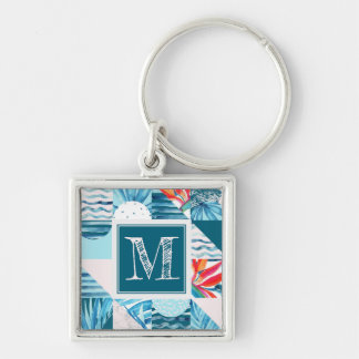 Tropical Teal Geometric Abstract Pattern Keychain