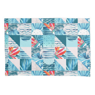 Tropical Teal Geometric Abstract Pattern Pillowcase