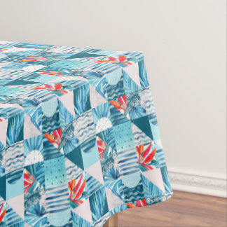 Tropical Teal Geometric Abstract Pattern Tablecloth