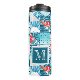 Tropical Teal Geometric Abstract Pattern Thermal Tumbler