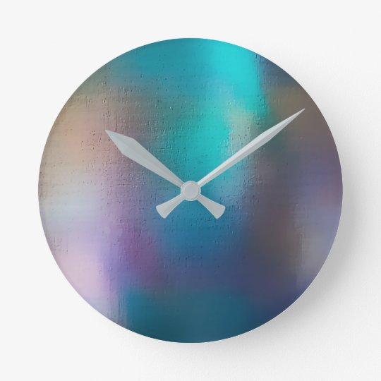 Tropical Teal Green Pink Pearly Abstract Round Clock