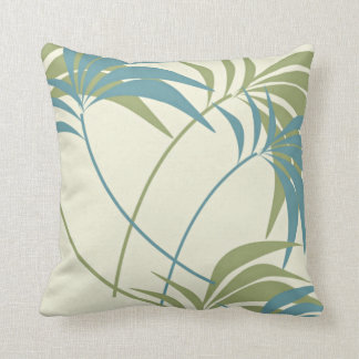 Tropical Teal, Khaki & Ivory Palm Tree Throw Pillow