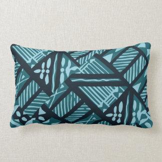 """Tropical Teal Tapa Cloth 13""""x20"""" Lumbar Pillow"""
