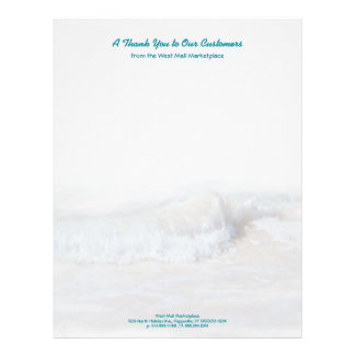 Tropical Teal Text Ocean Waves Business Stationery Letterhead Template