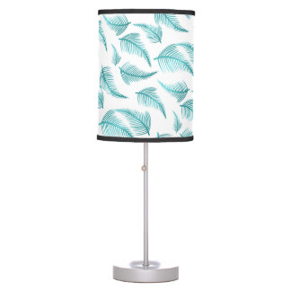 Tropical Teal Watercolor Palm Frond Leaf Pattern Table Lamp