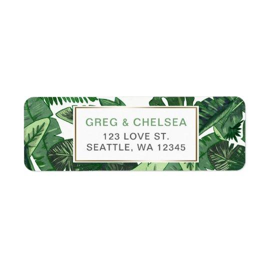 Tropical Terrain botanical greenery wedding Return Address Label