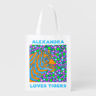 Tropical Tiger Pop Art Personalized Loves Tigers Grocery Bag