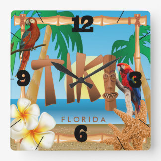 Tropical Tiki Design Square Wall Clock