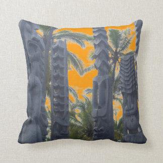 Tropical tiki statue sunset decorative pillow