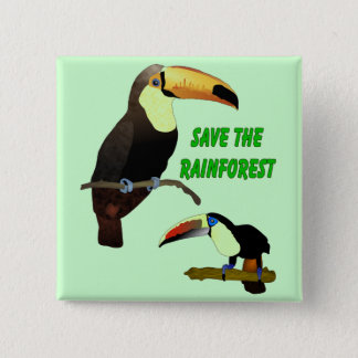 Tropical Toucan 2 Inch Square Button