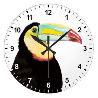Tropical Toucan Bird Large Clock