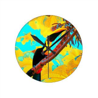 Tropical Toucan Bird Round Clock