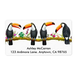 Tropical Toucan Birds Labels