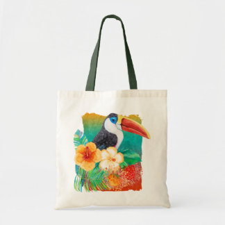 Tropical Toucan Hibiscus Watercolor Floral