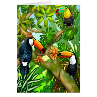 Tropical Toucan Jungle Greeting Card